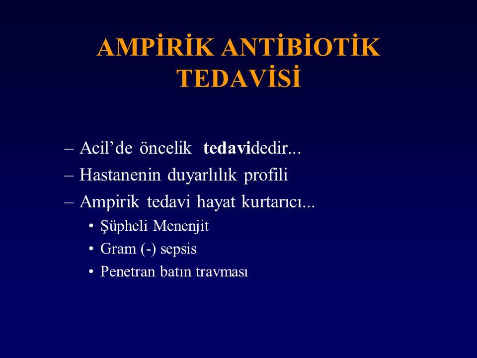 AMPİRİK ANTİBİOTİK TEDAVİSİ –Acil'de öncelik tedavidedir... –Hastanenin duyarlılık profili –Ampirik tedavi hayat kurtarıcı... Şüpheli Menenjit Gram (-