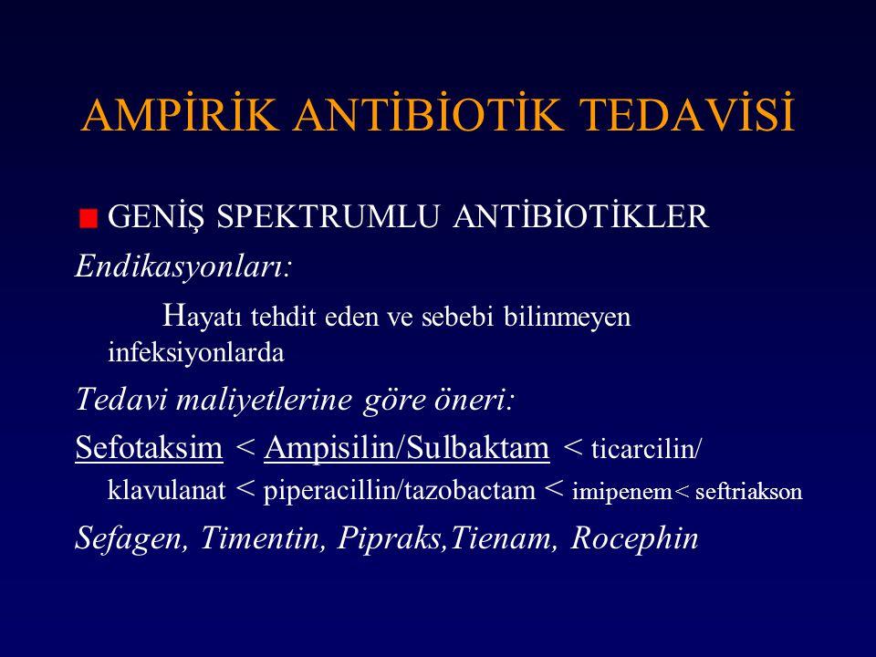 AMPİRİK ANTİBİOTİK TEDAVİSİ GENİŞ SPEKTRUMLU ANTİBİOTİKLER Endikasyonları: H ayatı tehdit eden ve sebebi bilinmeyen infeksiyonlarda Tedavi maliyetleri