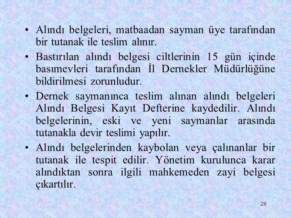 29 Alındı belgeleri, matbaadan sayman üye tarafından bir tutanak ile teslim alınır. Bastırılan alındı belgesi ciltlerinin 15 gün içinde basımevleri ta