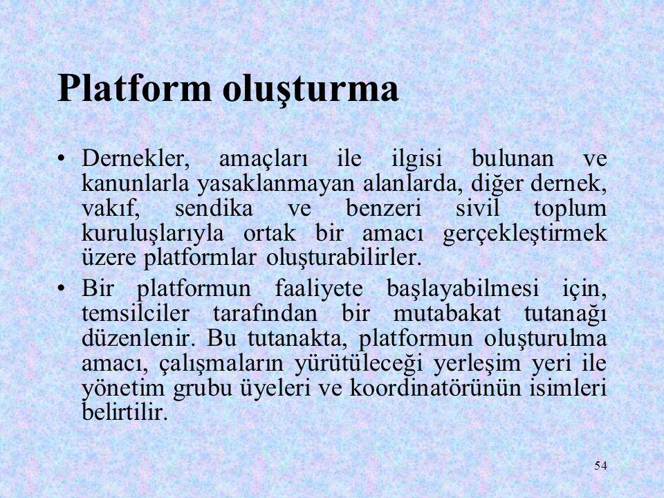 54 Platform oluşturma Dernekler, amaçları ile ilgisi bulunan ve kanunlarla yasaklanmayan alanlarda, diğer dernek, vakıf, sendika ve benzeri sivil topl