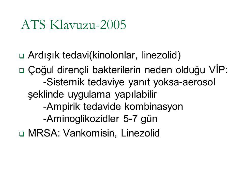 ATS Klavuzu-2005  Ardışık tedavi(kinolonlar, linezolid)  Çoğul dirençli bakterilerin neden olduğu VİP: -Sistemik tedaviye yanıt yoksa-aerosol şeklin