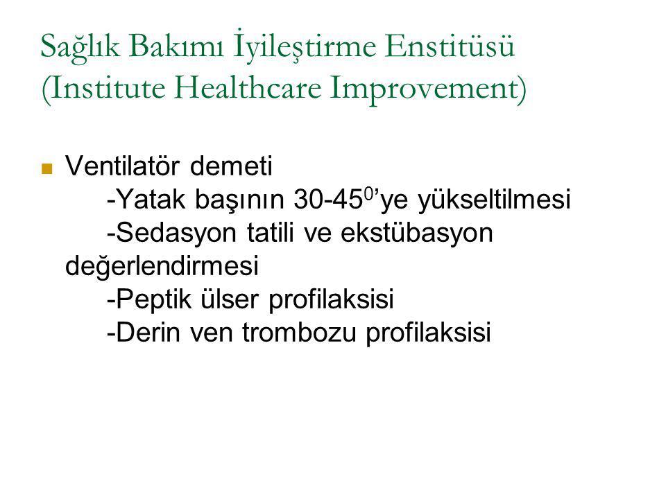 Sağlık Bakımı İyileştirme Enstitüsü (Institute Healthcare Improvement) Ventilatör demeti -Yatak başının 30-45 0 'ye yükseltilmesi -Sedasyon tatili ve