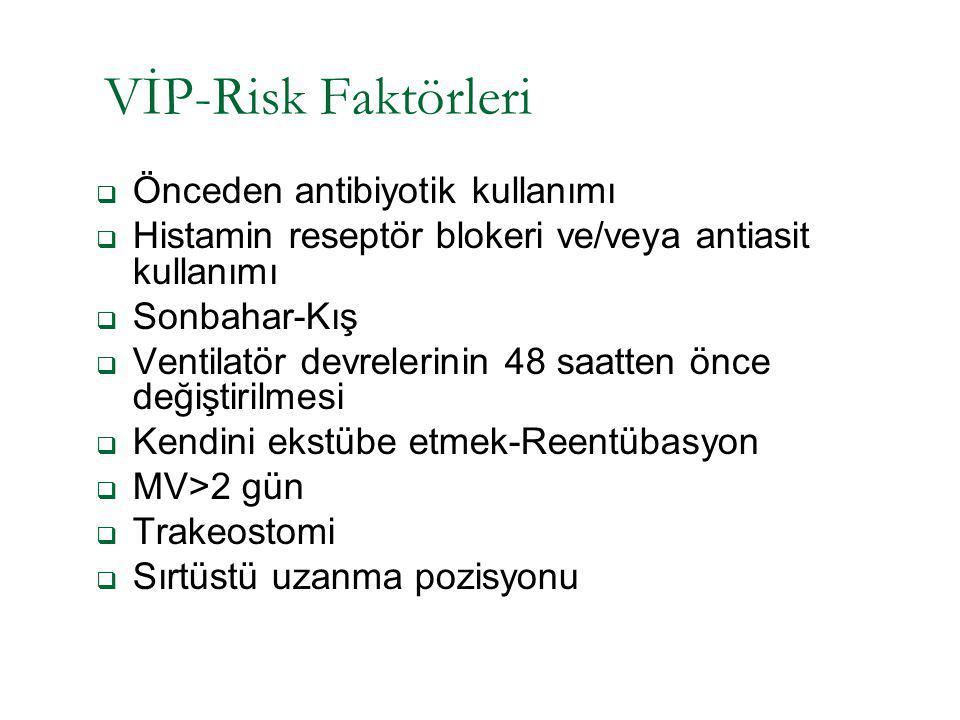 VİP-Risk Faktörleri  Önceden antibiyotik kullanımı  Histamin reseptör blokeri ve/veya antiasit kullanımı  Sonbahar-Kış  Ventilatör devrelerinin 48