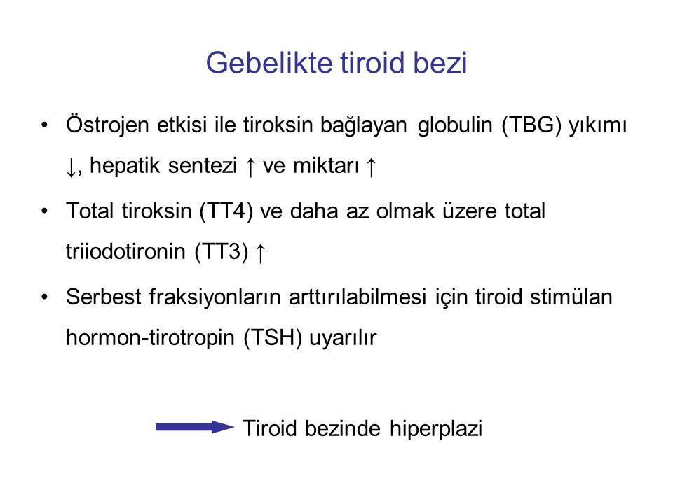 Gebelikte tiroid bezi Östrojen etkisi ile tiroksin bağlayan globulin (TBG) yıkımı ↓, hepatik sentezi ↑ ve miktarı ↑ Total tiroksin (TT4) ve daha az ol