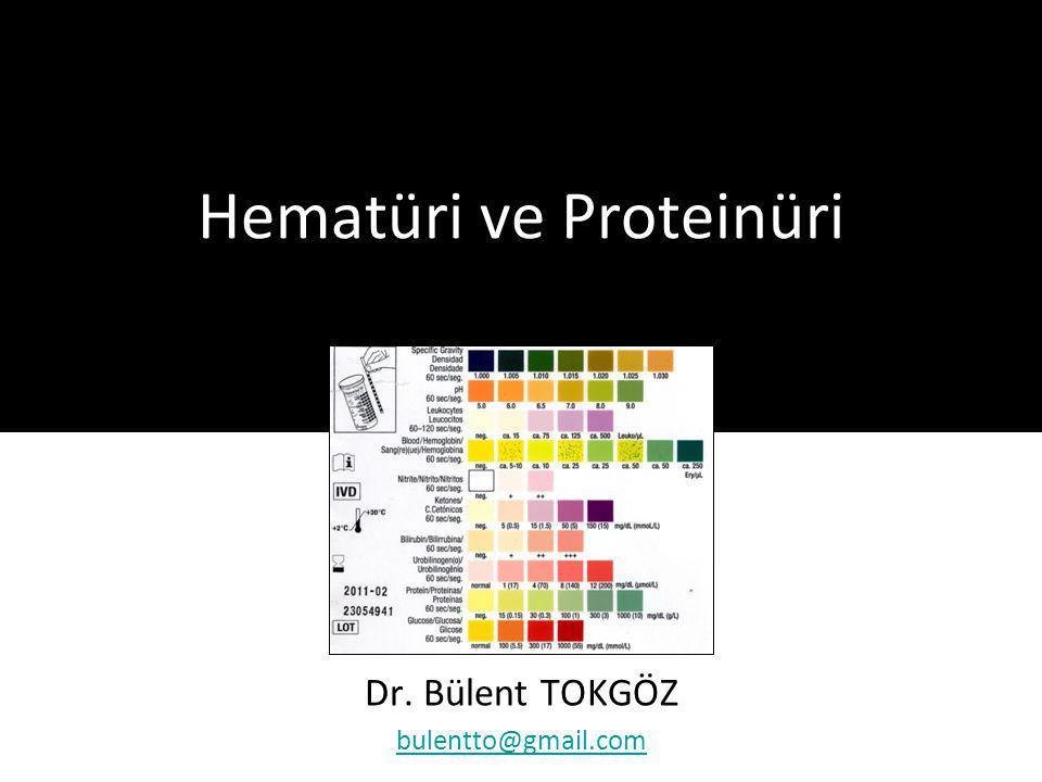Proteinüri Sebepleri Glomerüler Proteinüri Primer glomerül hastalıkları –Minimal değişiklik hastalığı –IgA nefropatisi –FSGS –Membranöz nefropati –Membranoproliferatif glomerülonefrit –Fibriler ve immünotaktoid nefropati –Kresentik glomerülonefrit Sekonder glomerül hastalıkları –Multisistem hastalıklar: SLE, vaskülit, amiloidoz, skleroderma –Metabolik hastalık: DM, Fabry hast.