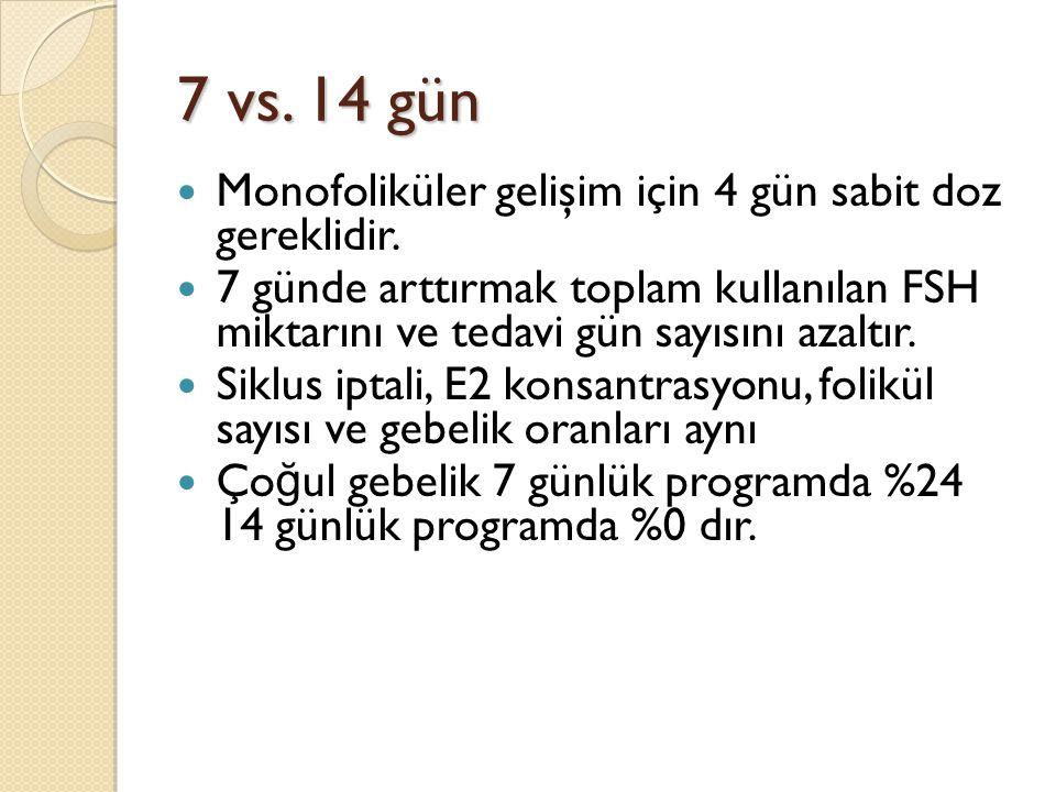 7 vs.14 gün Monofoliküler gelişim için 4 gün sabit doz gereklidir.