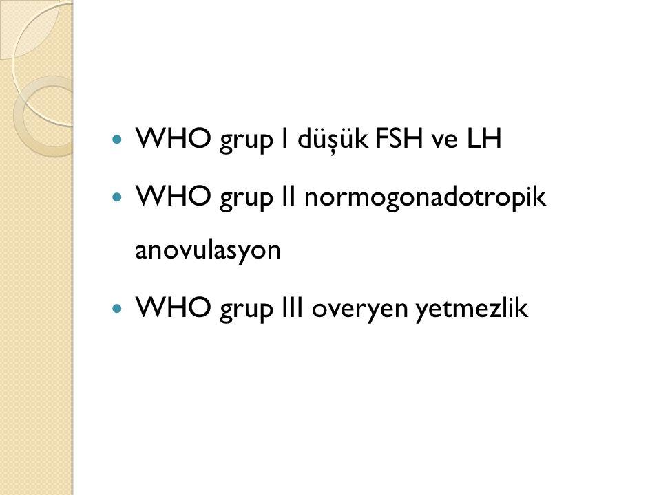 WHO grup I düşük FSH ve LH WHO grup II normogonadotropik anovulasyon WHO grup III overyen yetmezlik