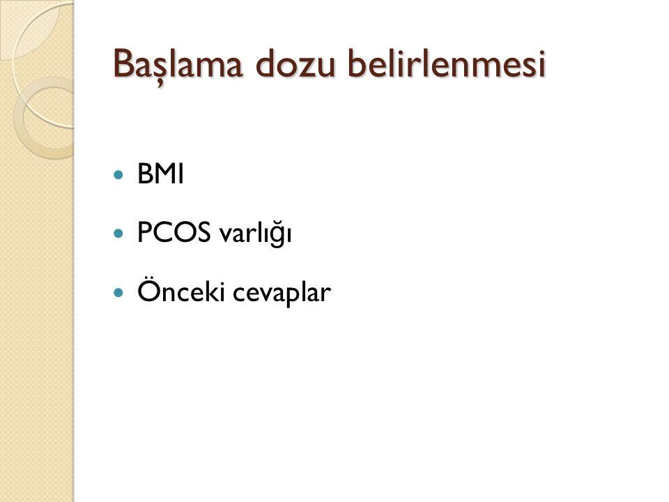 PCOS PCOS hastalarında 75 IU vs 52.5 IU karşılaştırılmış Monofoliküler gelişme 52.5 IU da daha fazla %84 vs %72 Ovulasyon oranı Gebelik oranı Düşük oranı eşit