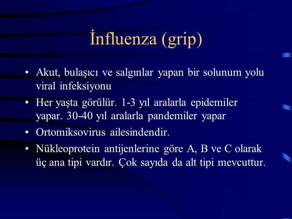 İnfluenza (grip) Akut, bulaşıcı ve salgınlar yapan bir solunum yolu viral infeksiyonu Her yaşta görülür. 1-3 yıl aralarla epidemiler yapar. 30-40 yıl