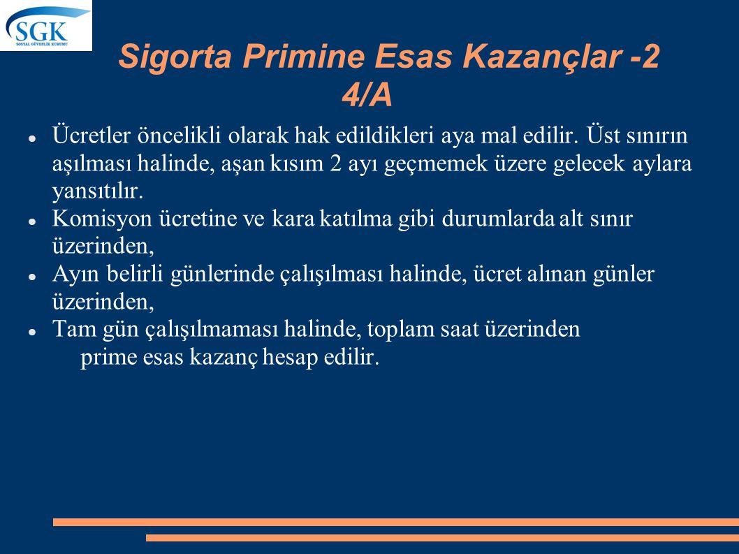 Sigorta Primine Esas Kazançlar -1 4/A 4/a sigortalılarının prime esas kazancın hesabında;  Hak edilen ücret  Prim, ikramiye ve bu nitelikteki her çe