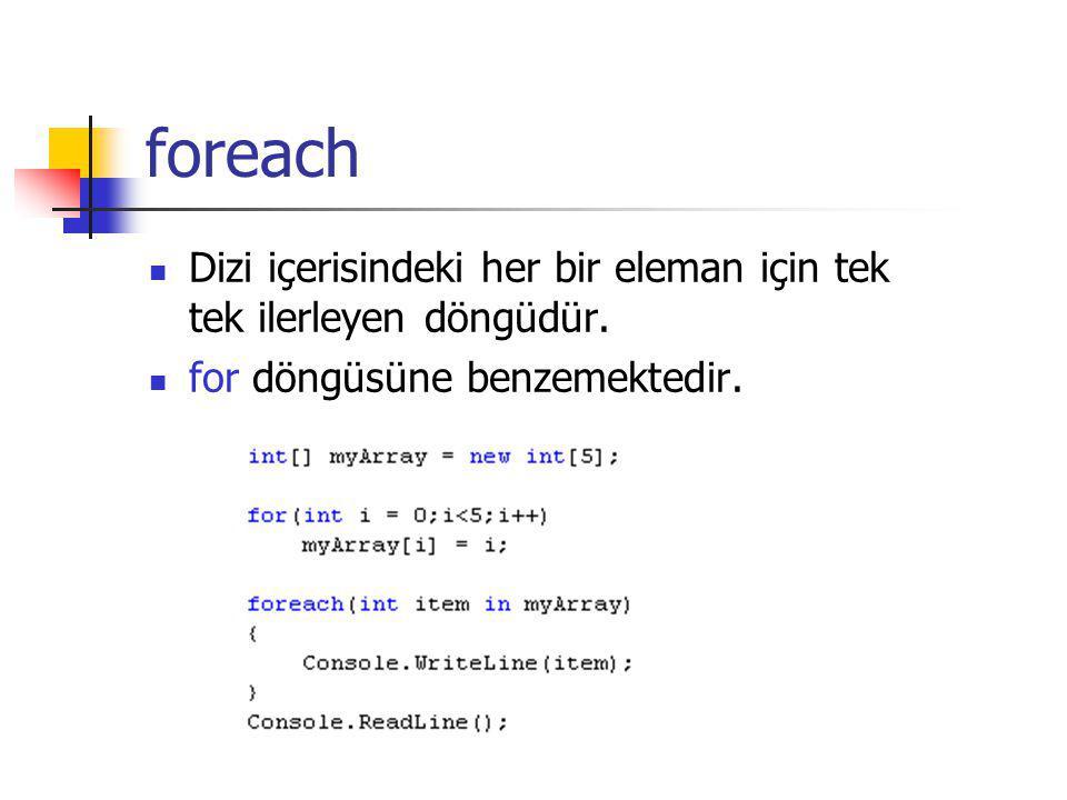 foreach Dizi içerisindeki her bir eleman için tek tek ilerleyen döngüdür. for döngüsüne benzemektedir.