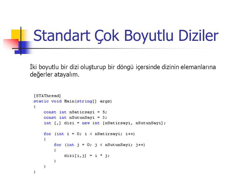 Standart Çok Boyutlu Diziler İki boyutlu bir dizi oluşturup bir döngü içersinde dizinin elemanlarına değerler atayalım.
