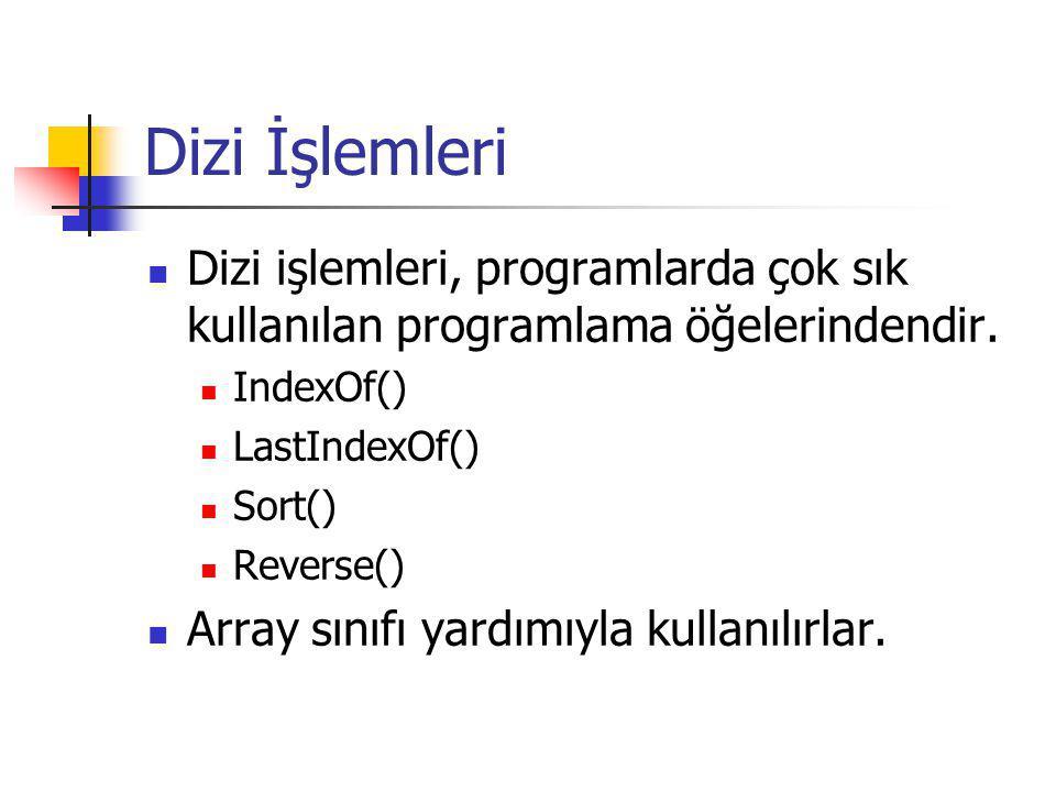 Dizi İşlemleri Dizi işlemleri, programlarda çok sık kullanılan programlama öğelerindendir. IndexOf() LastIndexOf() Sort() Reverse() Array sınıfı yardı