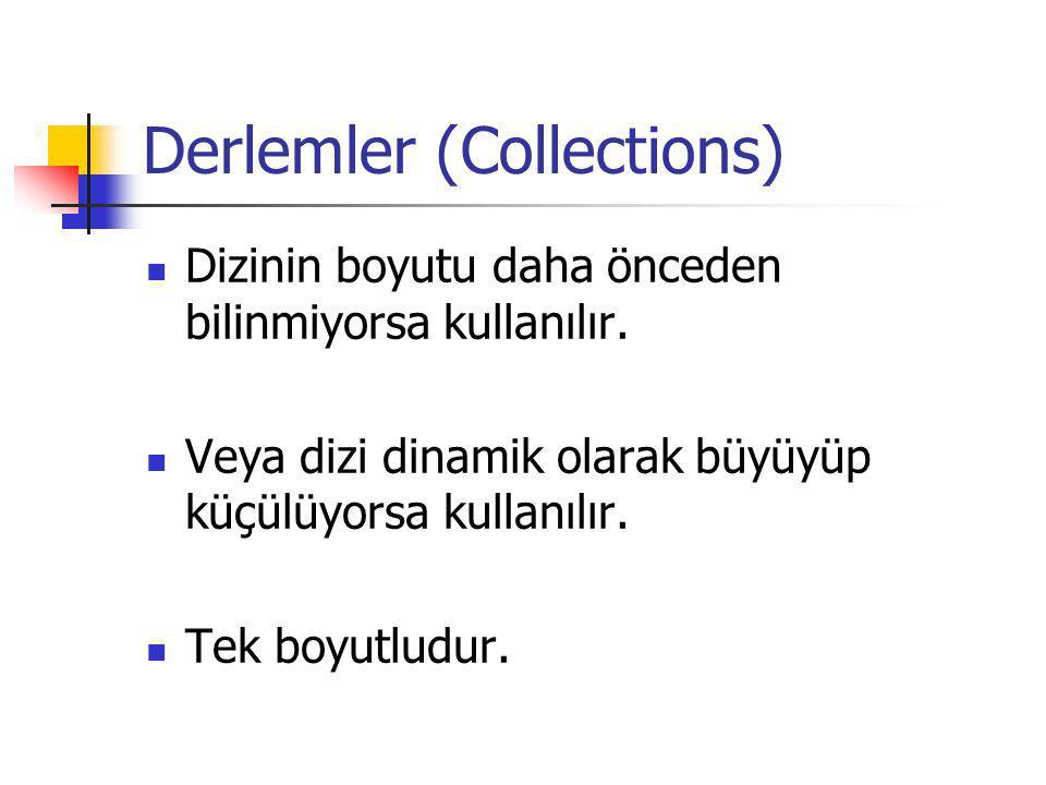 Derlemler (Collections) Dizinin boyutu daha önceden bilinmiyorsa kullanılır. Veya dizi dinamik olarak büyüyüp küçülüyorsa kullanılır. Tek boyutludur.