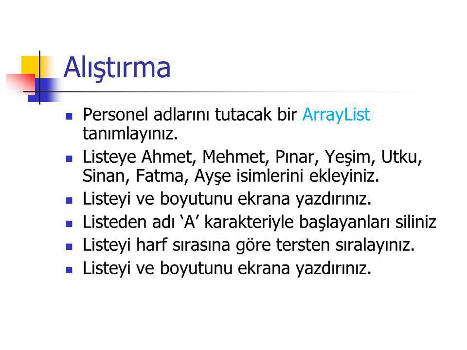 Alıştırma Personel adlarını tutacak bir ArrayList tanımlayınız. Listeye Ahmet, Mehmet, Pınar, Yeşim, Utku, Sinan, Fatma, Ayşe isimlerini ekleyiniz. Li