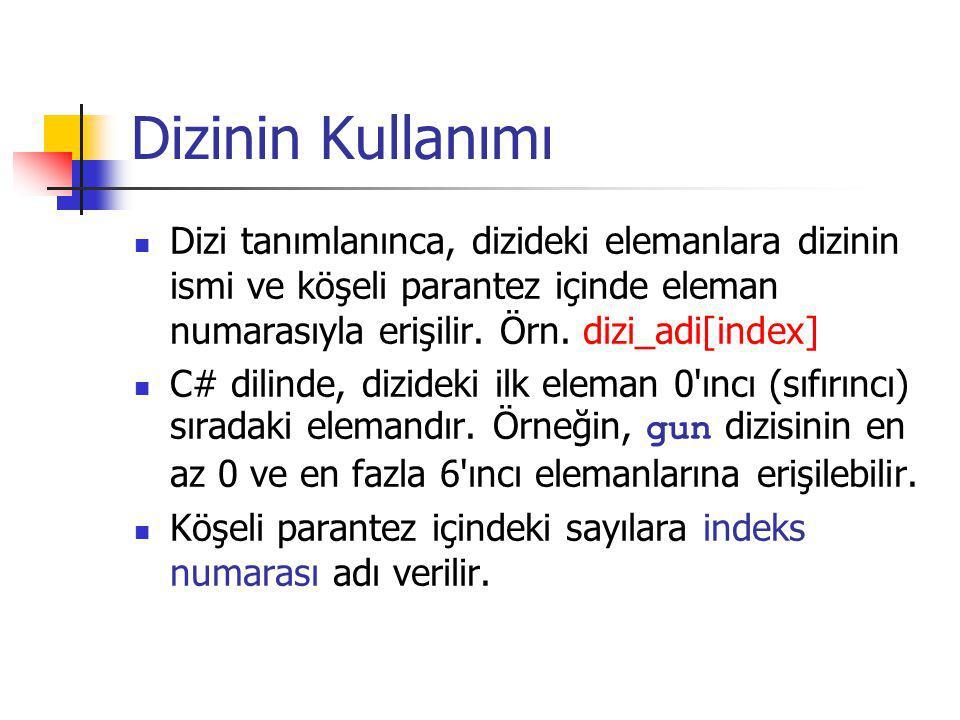 Dizinin Kullanımı Dizi tanımlanınca, dizideki elemanlara dizinin ismi ve köşeli parantez içinde eleman numarasıyla erişilir. Örn. dizi_adi[index] C# d