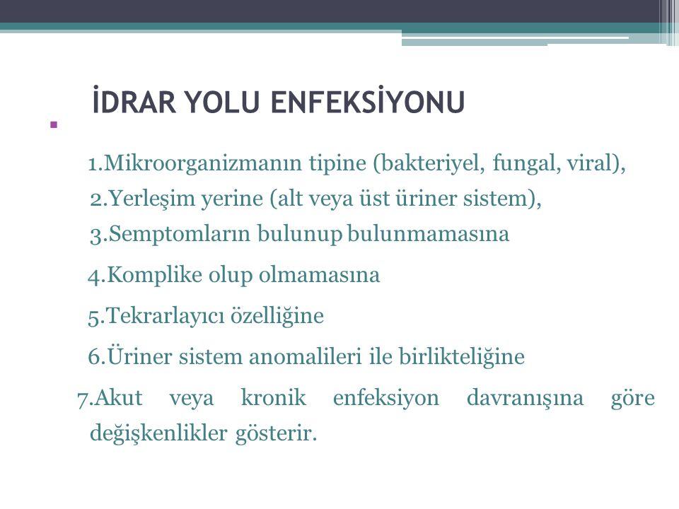 İDRAR YOLU ENFEKSİYONU  1.Mikroorganizmanın tipine (bakteriyel, fungal, viral), 2.Yerleşim yerine (alt veya üst üriner sistem), 3.Semptomların bulunu
