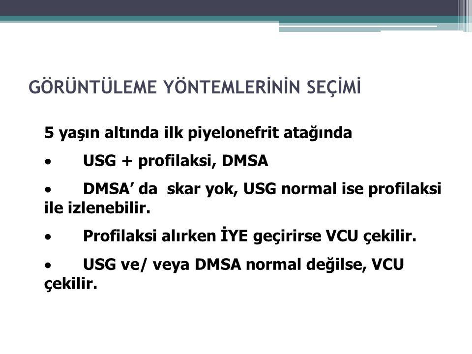 5 yaşın altında ilk piyelonefrit atağında  USG + profilaksi, DMSA  DMSA' da skar yok, USG normal ise profilaksi ile izlenebilir.  Profilaksi alırke