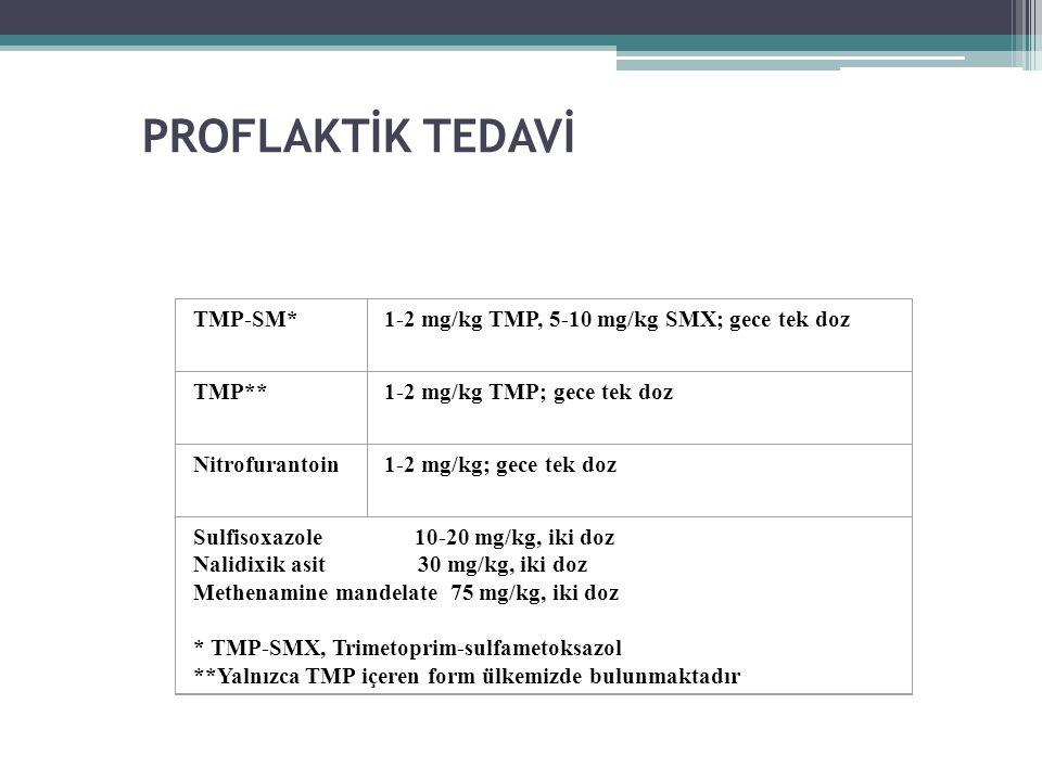 PROFLAKTİK TEDAVİ TMP-SM*1-2 mg/kg TMP, 5-10 mg/kg SMX; gece tek doz TMP**1-2 mg/kg TMP; gece tek doz Nitrofurantoin1-2 mg/kg; gece tek doz Sulfisoxaz