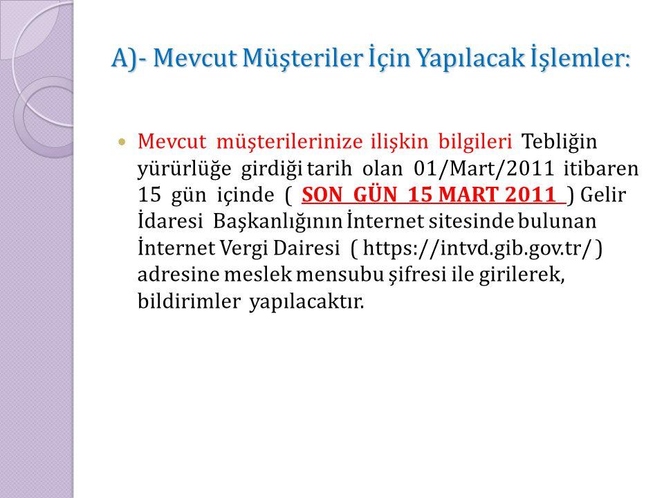A)- Mevcut Müşteriler İçin Yapılacak İşlemler : Mevcut müşterilerinize ilişkin bilgileri Tebliğin yürürlüğe girdiği tarih olan 01/Mart/2011 itibaren 1