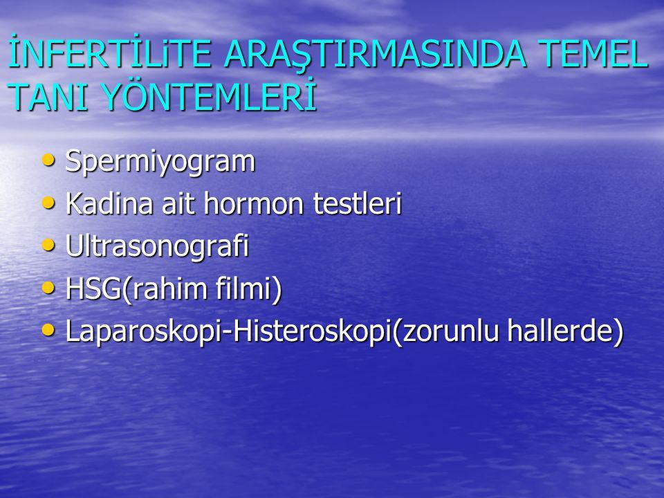 İNFERTİLiTE ARAŞTIRMASINDA TEMEL TANI YÖNTEMLERİ Spermiyogram Spermiyogram Kadina ait hormon testleri Kadina ait hormon testleri Ultrasonografi Ultrasonografi HSG(rahim filmi) HSG(rahim filmi) Laparoskopi-Histeroskopi(zorunlu hallerde) Laparoskopi-Histeroskopi(zorunlu hallerde)