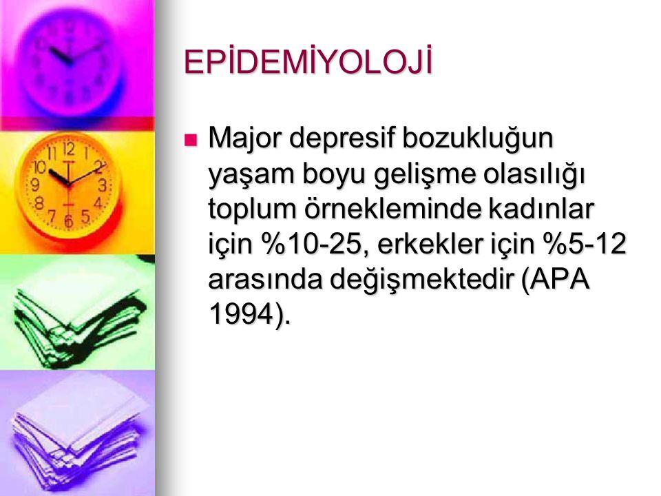 EPİDEMİYOLOJİ Major depresif bozukluğun yaşam boyu gelişme olasılığı toplum örnekleminde kadınlar için %10-25, erkekler için %5-12 arasında değişmektedir (APA 1994).