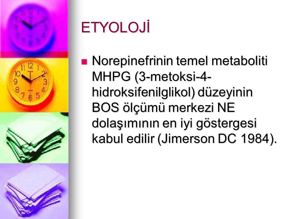 ETYOLOJİ Norepinefrinin temel metaboliti MHPG (3-metoksi-4- hidroksifenilglikol) düzeyinin BOS ölçümü merkezi NE dolaşımının en iyi göstergesi kabul edilir (Jimerson DC 1984).