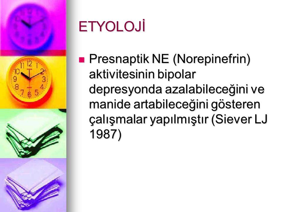 ETYOLOJİ Presnaptik NE (Norepinefrin) aktivitesinin bipolar depresyonda azalabileceğini ve manide artabileceğini gösteren çalışmalar yapılmıştır (Siever LJ 1987) Presnaptik NE (Norepinefrin) aktivitesinin bipolar depresyonda azalabileceğini ve manide artabileceğini gösteren çalışmalar yapılmıştır (Siever LJ 1987)