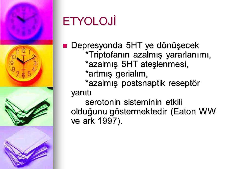 ETYOLOJİ Depresyonda 5HT ye dönüşecek *Triptofanın azalmış yararlanımı, *azalmış 5HT ateşlenmesi, *artmış gerialım, *azalmış postsnaptik reseptör yanıtı serotonin sisteminin etkili olduğunu göstermektedir (Eaton WW ve ark 1997).