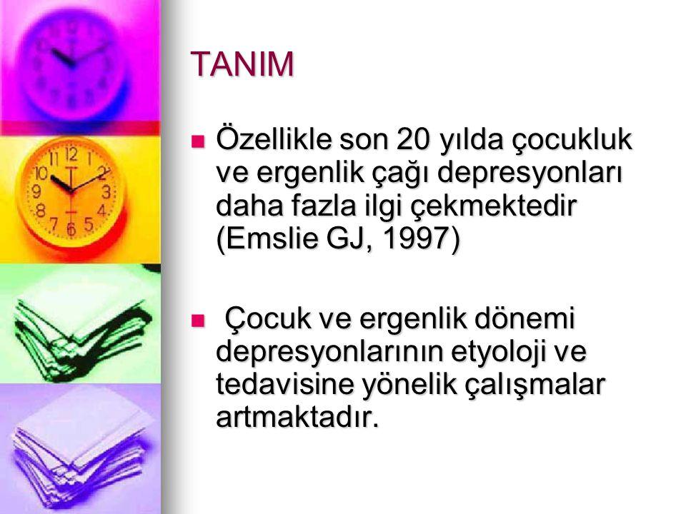 TEDAVİ Trisiklik antidepresanlar Trisiklik antidepresanlar 1950 li yıllardan günümüze kullanılmaktadır 1950 li yıllardan günümüze kullanılmaktadır Kardiotoksik yan etkiler nedeni ile dikkatli kullanılmalıdır Kardiotoksik yan etkiler nedeni ile dikkatli kullanılmalıdır İmipramin, klomipramin, amitriptilin kullanılabilir İmipramin, klomipramin, amitriptilin kullanılabilir