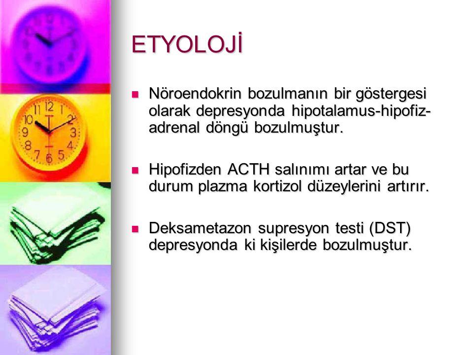 ETYOLOJİ Nöroendokrin bozulmanın bir göstergesi olarak depresyonda hipotalamus-hipofiz- adrenal döngü bozulmuştur.