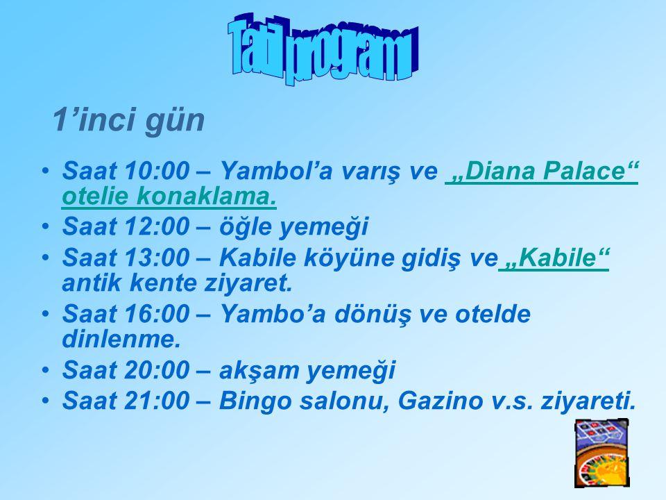 """1'inci gün Saat 10:00 – Yambol'a varış ve """"Diana Palace"""" otelie konaklama. Saat 12:00 – öğle yemeği Saat 13:00 – Kabile köyüne gidiş ve """"Kabile"""" antik"""