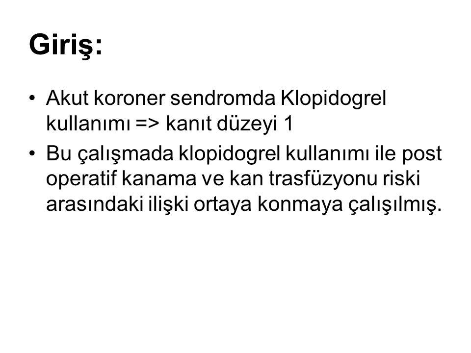 Giriş: Akut koroner sendromda Klopidogrel kullanımı => kanıt düzeyi 1 Bu çalışmada klopidogrel kullanımı ile post operatif kanama ve kan trasfüzyonu riski arasındaki ilişki ortaya konmaya çalışılmış.