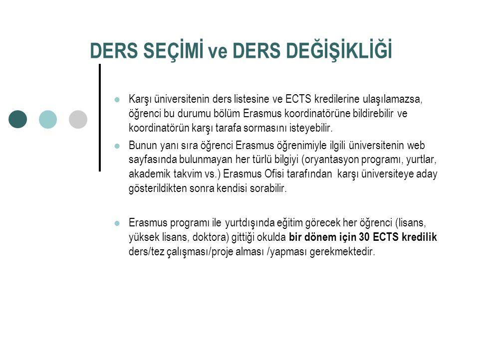 DERS SEÇİMİ ve DERS DEĞİŞİKLİĞİ Karşı üniversitenin ders listesine ve ECTS kredilerine ulaşılamazsa, öğrenci bu durumu bölüm Erasmus koordinatörüne bildirebilir ve koordinatörün karşı tarafa sormasını isteyebilir.