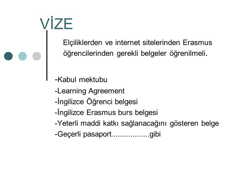 VİZE Elçiliklerden ve internet sitelerinden Erasmus öğrencilerinden gerekli belgeler öğrenilmeli.