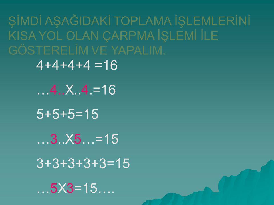 ŞİMDİ AŞAĞIDAKİ TOPLAMA İŞLEMLERİNİ KISA YOL OLAN ÇARPMA İŞLEMİ İLE GÖSTERELİM VE YAPALIM. 4+4+4+4 =16 …4..X..4.=16 5+5+5=15 …3..X5…=15 3+3+3+3+3=15 …