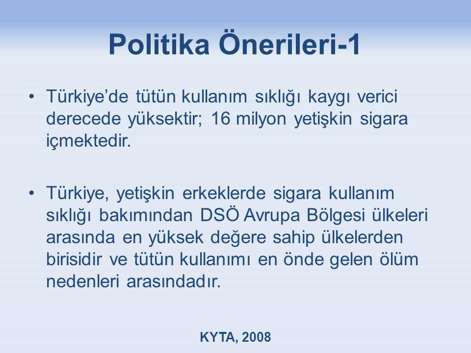 Politika Önerileri-1 Türkiye'de tütün kullanım sıklığı kaygı verici derecede yüksektir; 16 milyon yetişkin sigara içmektedir. Türkiye, yetişkin erkekl
