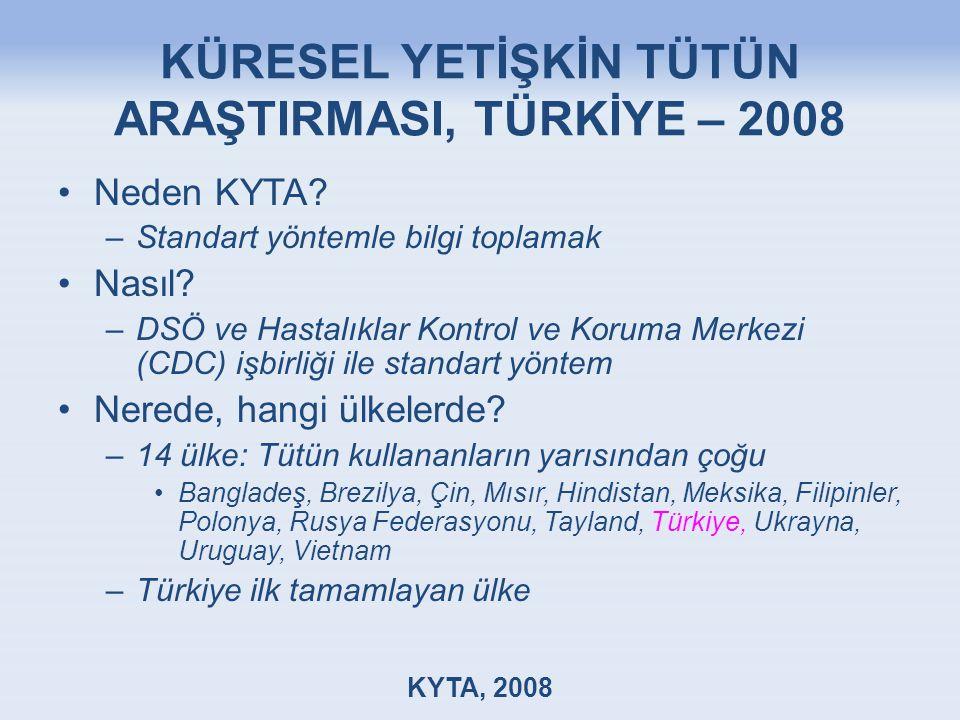 KÜRESEL YETİŞKİN TÜTÜN ARAŞTIRMASI, TÜRKİYE – 2008 Neden KYTA.