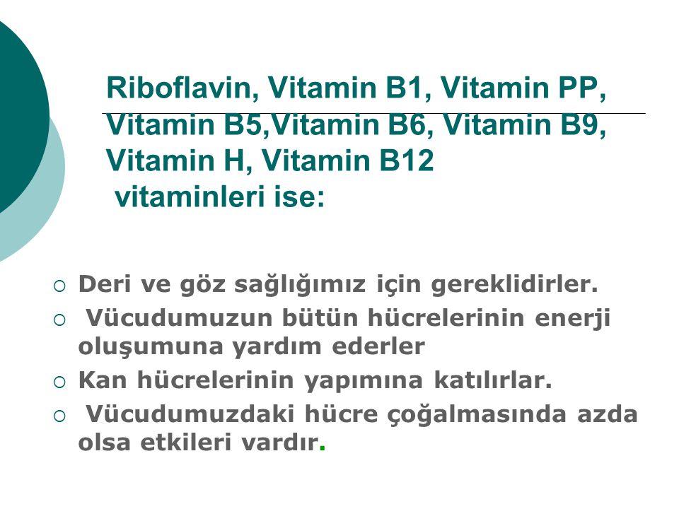 Riboflavin, Vitamin B1, Vitamin PP, Vitamin B5,Vitamin B6, Vitamin B9, Vitamin H, Vitamin B12 vitaminleri ise:  Deri ve göz sağlığımız için gereklidi