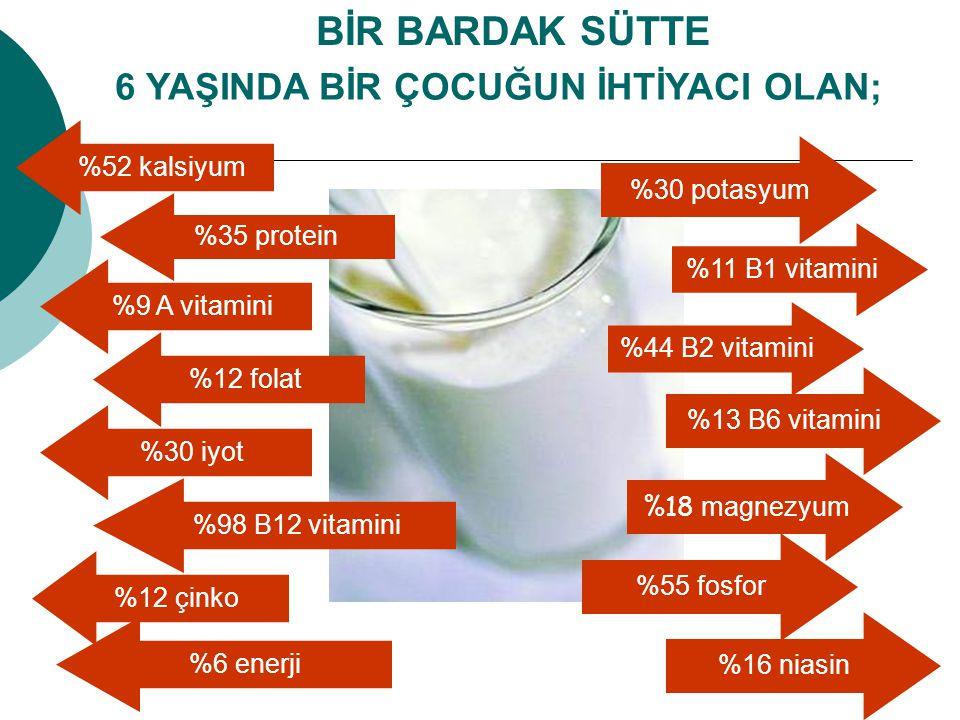 6 YAŞINDA BİR ÇOCUĞUN İHTİYACI OLAN; BİR BARDAK SÜTTE %52 kalsiyum %35 protein %9 A vitamini %12 folat %30 iyot %98 B12 vitamini %12 çinko %6 enerji %
