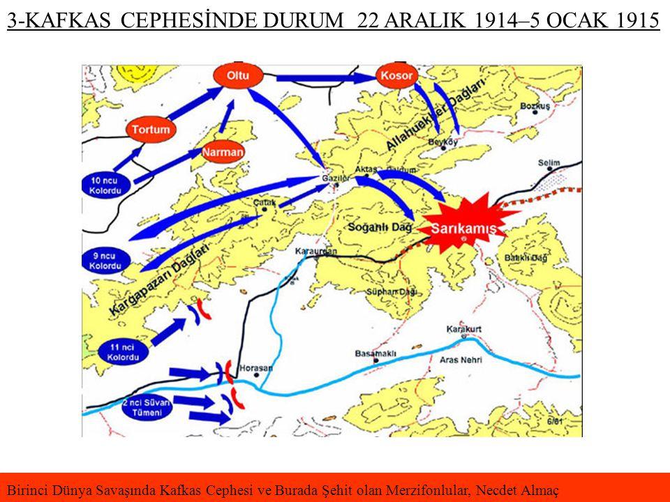 3-KAFKAS CEPHESİNDE DURUM 22 ARALIK 1914–5 OCAK 1915 Birinci Dünya Savaşında Kafkas Cephesi ve Burada Şehit olan Merzifonlular, Necdet Almaç