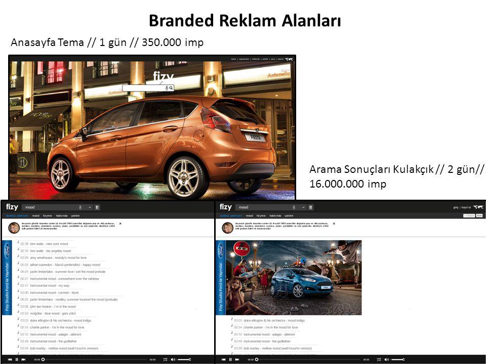 Branded Reklam Alanları Anasayfa Tema // 1 gün // 350.000 imp Arama Sonuçları Kulakçık // 2 gün// 16.000.000 imp