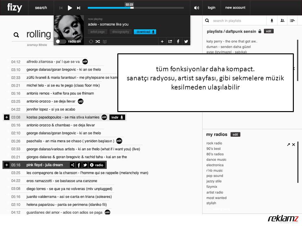 tüm fonksiyonlar daha kompact. sanatçı radyosu, artist sayfası, gibi sekmelere müzik kesilmeden ulaşılabilir