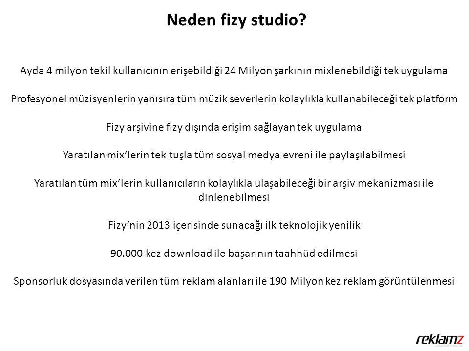 Neden fizy studio? Ayda 4 milyon tekil kullanıcının erişebildiği 24 Milyon şarkının mixlenebildiği tek uygulama Profesyonel müzisyenlerin yanısıra tüm