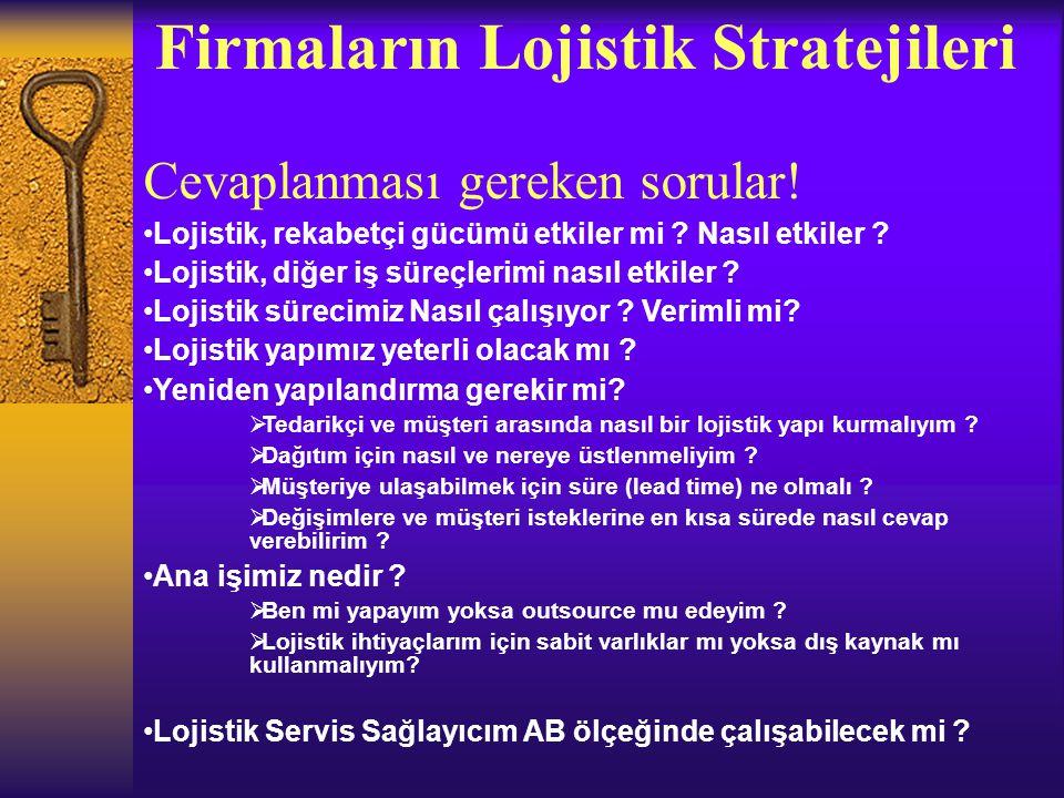 Firmaların Lojistik Stratejileri Cevaplanması gereken sorular! Lojistik, rekabetçi gücümü etkiler mi ? Nasıl etkiler ? Lojistik, diğer iş süreçlerimi