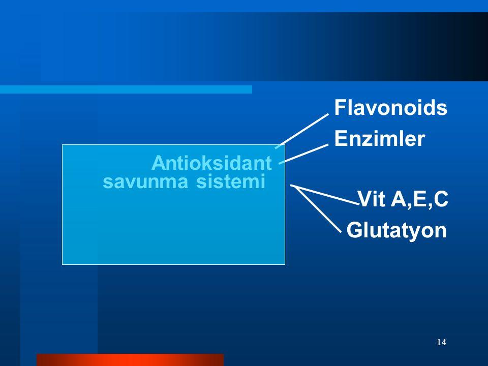 14 Flavonoids Enzimler Antioksidant savunma sistemi Vit A,E,C Glutatyon
