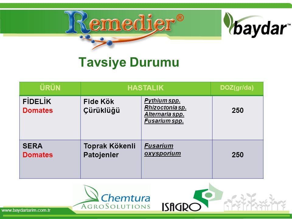 www.baydartarim.com.tr Tavsiye Durumu FİDELİK Domates Fide Kök Çürüklüğü Pythium spp. Rhizoctonia sp. Alternaria spp. Fusarium spp. 250 SERA Domates T