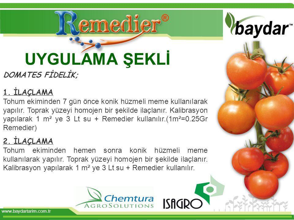 www.baydartarim.com.tr UYGULAMA ŞEKLİ DOMATES FİDELİK; 1.