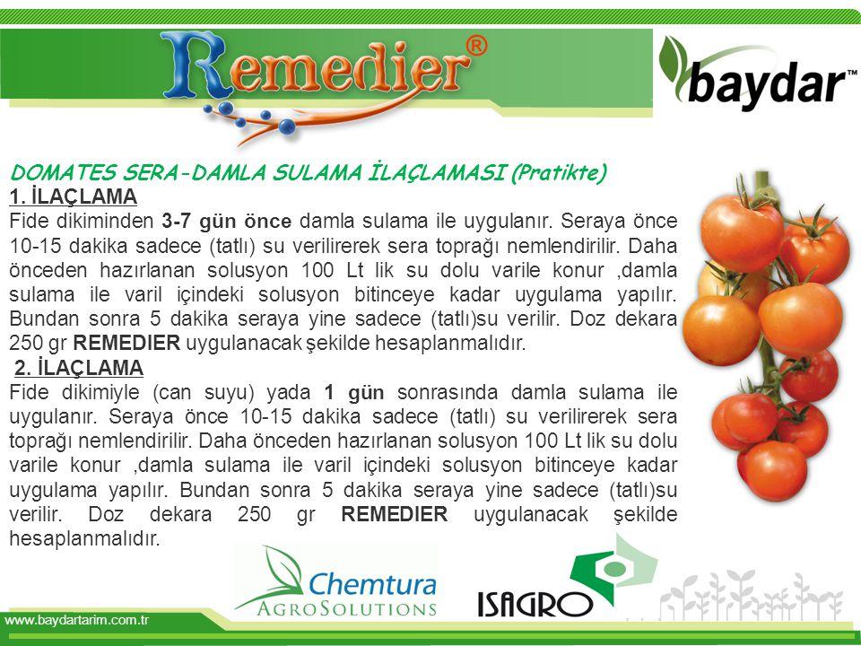 www.baydartarim.com.tr DOMATES SERA-DAMLA SULAMA İLAÇLAMASI (Pratikte) 1.