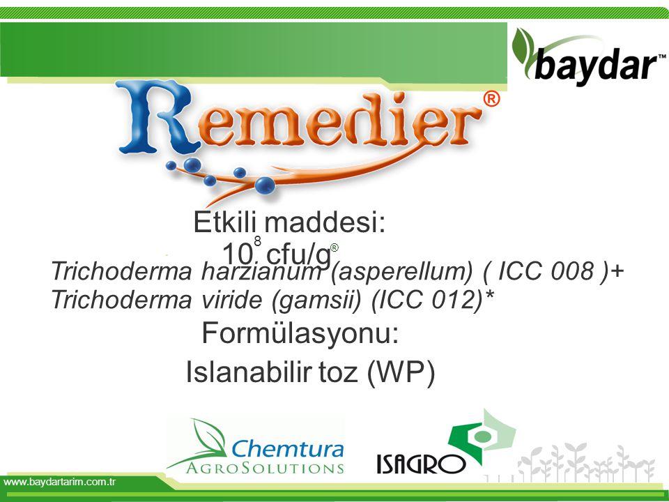 . Etkili maddesi: 10 8 cfu/g Formülasyonu: Islanabilir toz (WP) Trichoderma harzianum (asperellum) ( ICC 008 )+ Trichoderma viride (gamsii) (ICC 012)*